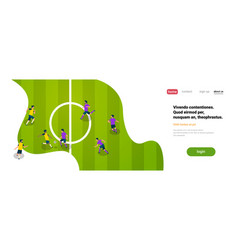 football match with players top angle view soccer vector image