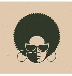 front view portrait a black woman face vector image