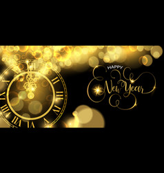 gold new years eve clock time luxury web banner vector image