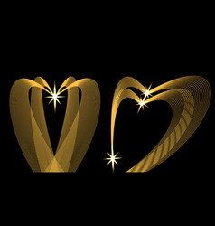golden waves in the shape of heart on a black vector image