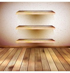 Grunge wooden interior with shelf EPS 10 vector image