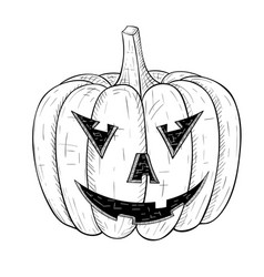 Halloween pumpkin carved angry face hand drawn vector