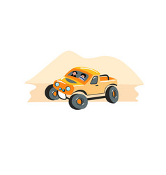 hand drawing icon in flat style - safari car suv vector image