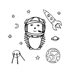 hand-drawn hedgehog the astronaut vector image