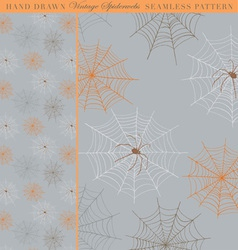 Hand Drawn Vintage Spiderweb Seamless Pattern vector image vector image