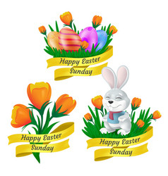 happy easter sunday set with golden ribbon cute vector image