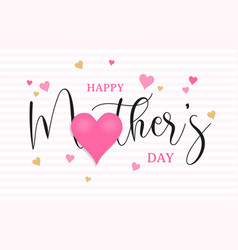 happy mothers day pink love heart shape card vector image