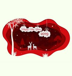 happy new year 2019 with animals wildlife vector image