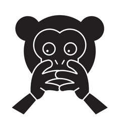 hear no evil emoji black concept icon hear vector image