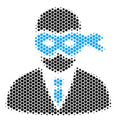hexagon halftone masked thief icon vector image