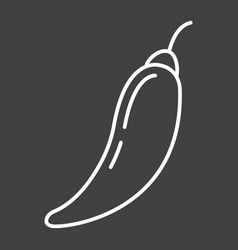 Hot chili pepper line icon vegetable and mexican vector