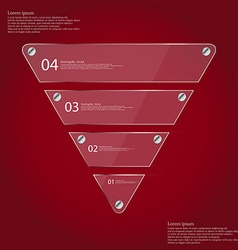 Infographic template with triangle from four glass vector
