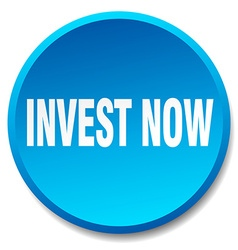invest now blue round flat isolated push button vector image