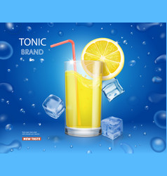 Lemonade glass with ice cubes and fresh lemon vector