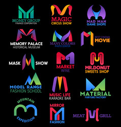 Letter m corporate identity brand name icons vector