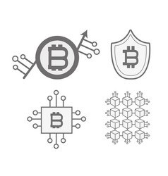Line set icon bitcoin money currency vector
