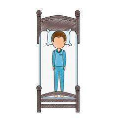 Man sleeping on the bed vector