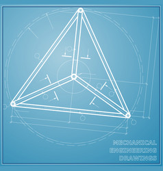 Mechanical engineering drawing blue and white vector