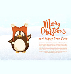 merry christmas and happy new year penguin in hat vector image
