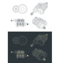 Motorcycle transmission gearbox drawing vector