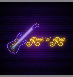 neon rock and roll music sign glowing rock guitar vector image