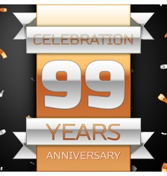 Ninety nine years anniversary celebration golden vector