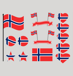 Norway flag set collection of symbols heart vector