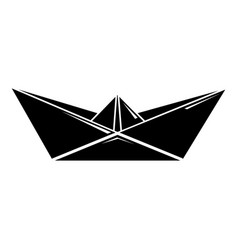 origami boat icon simple black style vector image