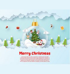 Origami paper art santa claus and friend in vector