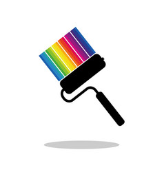 paint roller and strips of paint of different vector image