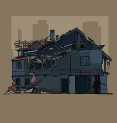 painted ruined a two storey dark house vector image