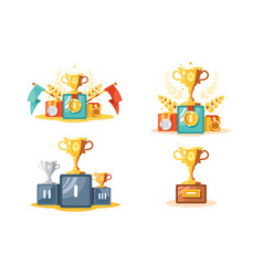 pedestal with gold cup and medals set vector image