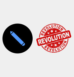 Pencil icon and distress revolution stamp vector