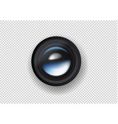 Photo camera lens on dark background vector