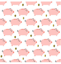 piggy bank simple seamless pattern vector image