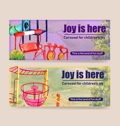 Playground banner design with monkey bars swing vector