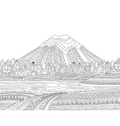 Printable coloring page for adults with mountain vector