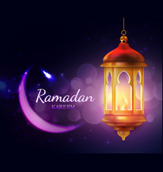 ramadan lantern with crescent moon islam religion vector image