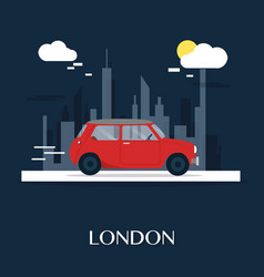 red car at london museum design vector image