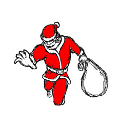 santa claus jumping with bag sketch vector image