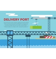 Sea transportation logistic port infographics vector image