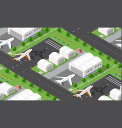 seamless pattern isometric 3d city airport with vector image