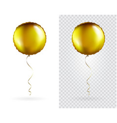 set golden round shaped foil balloons on vector image