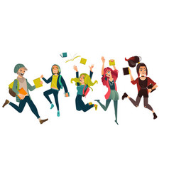 Set group of students jumping from happiness vector
