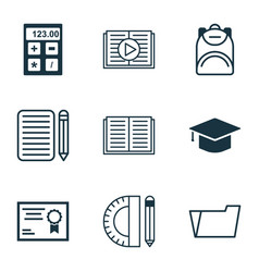 Set of 9 education icons includes graduation vector