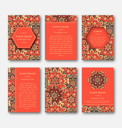 Set of cards flyers brochures with mandala vector