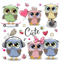 Set of cute owls on a white background vector