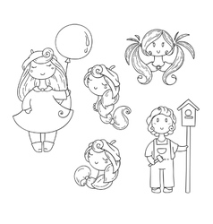 Set of doodle children Boy with birdhouse cute vector image
