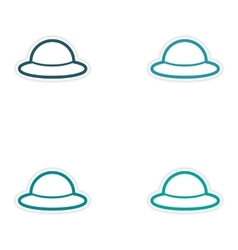 Set of stickers British hat on white background vector