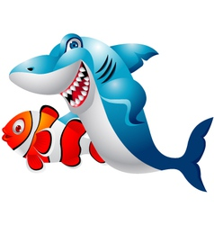 Shark with clown fish vector image